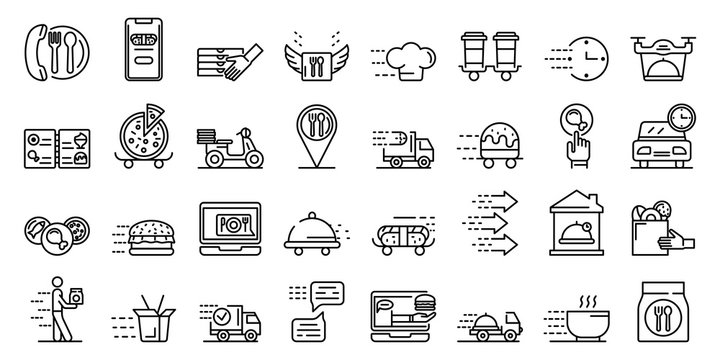 Food delivery service icons set. Outline set of food delivery service vector icons for web design isolated on white background