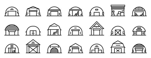 Hangar icons set. Outline set of hangar vector icons for web design isolated on white background