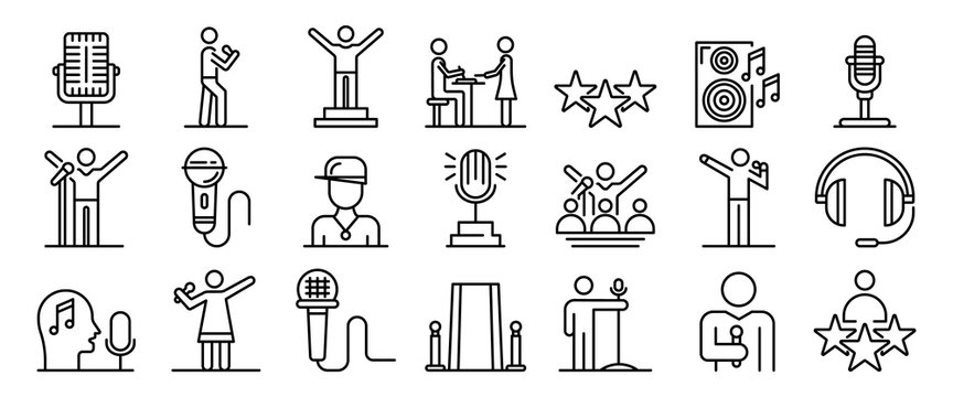 Singer icons set. Outline set of singer vector icons for web design isolated on white background