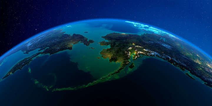 Detailed Earth at night. Chukotka, Alaska and the Bering Strait