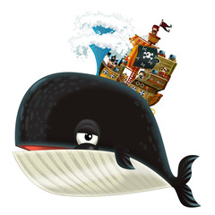 cartoon happy and funny sea whale spraying water and pirate ship - illustration for children