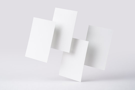front view of white business card on white