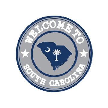 Vector Stamp of welcome to South Carolina with states flag on map outline in the center.