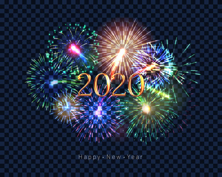 Happy new year 2020 congratulation with fireworks series. Celebratory template with realistic dazzling display of fireworks on transparent background vector illustration. Winter holiday festival show