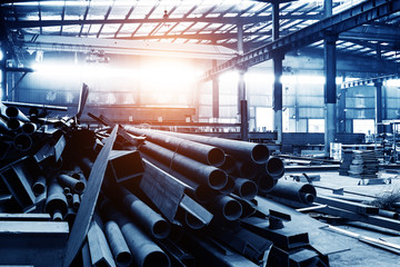 The interior of a big industrial building or factory with steel constructions Wall mural