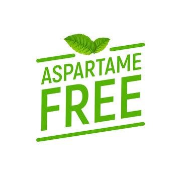 Aspartame free artificial symbol icon. Health product no aspartame sticker stamp, sweetener no sugar