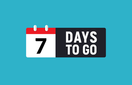 7 days to go last countdown icon. Seven day go sale price offer promo deal timer, 7 day only