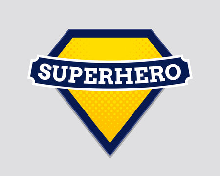Superhero vector badge logo. Super hero shield man icon symbol of power
