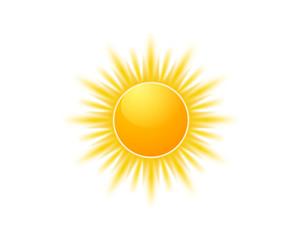 Obraz Realistic sun icon for weather design. Sunshine symbol happy orange isolated sun illustration - fototapety do salonu