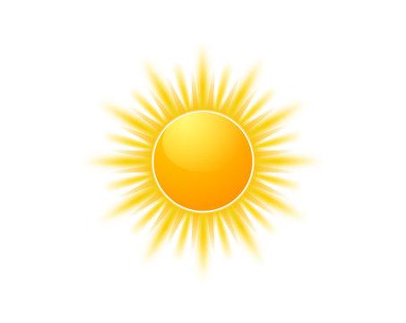 Realistic sun icon for weather design. Sunshine symbol happy orange isolated sun illustration