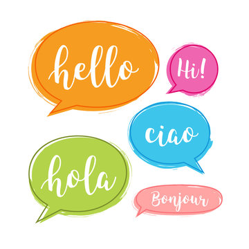 Hello bubble in different language. English, italian, french, spanish speech school, hello concept