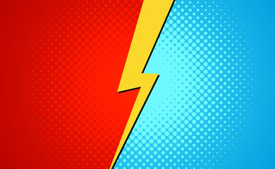 Versus superhero fight comic pop art retro battle design background. Cartoon versus halftone banner