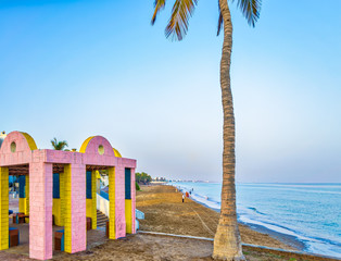Pink & Yellow Shelter and a Coconut Tree on the Beach. From Muscat, Oman.