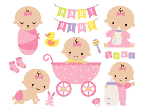 Vector illustration of pink baby girl set. Cute baby girl in a stroller with toys and accessories.