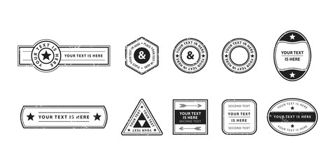 Set of genuine vector stamps in retro style. Graphic design of empty post seals for travel concept