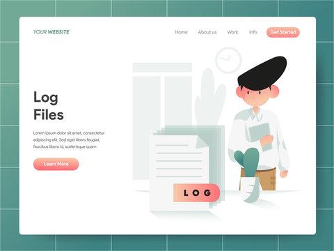 Computer Log File Illustration Concept. Modern design concept of web page design for website and mobile website.Vector illustration EPS 10