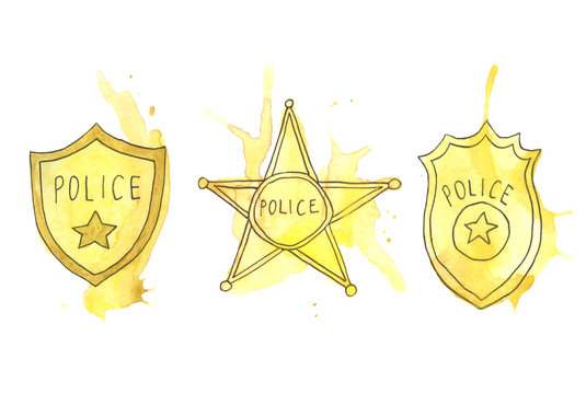 Hand-drawn police badges icons with watercolor splashes