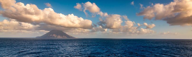 Volcano on Stromboli Island, Tyrrhenian Sea, Italy. Panoramic landscape view.