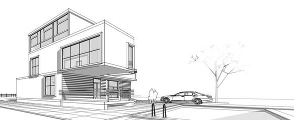 Townhouse, architectural sketch, 3d illustration Fototapete