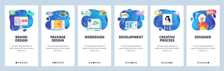 Wall Mural - Website and mobile app onboarding screens vector template