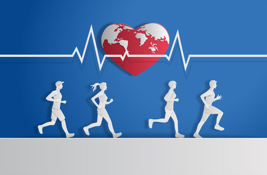 World Heart Day concept,  people running with heartbeat line, paper art and craft style, flat-style vector illustration.