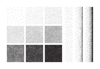 Set of half tone dot background, seamless pattern. Hand made stipple effect. Vector illustration isolated on white