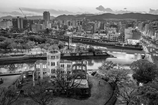 Hiroshima Peace Memorial from top view in Hiroshima