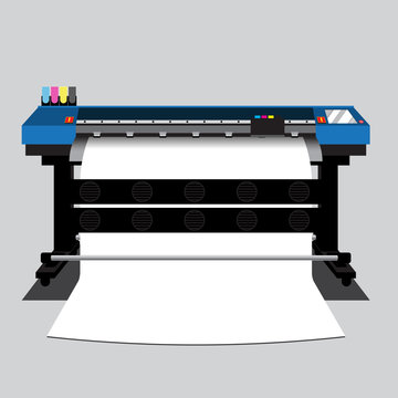 Wide and large blue printer, layer vector design