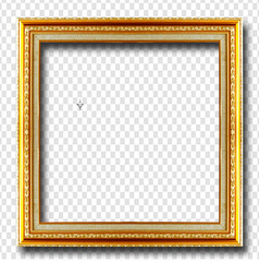 Golden picture frame isolated on transparent
