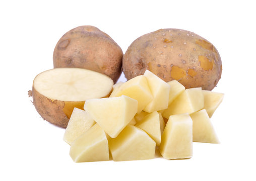 Fresh potato and slice isolated on white background