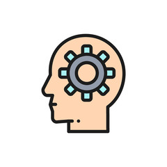 Vector head with gear, brain process, knowledge, idea flat color line icon.