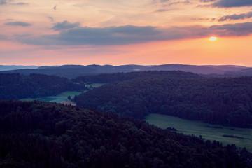 Sunset Landscape Seen from Hot Air Balloon