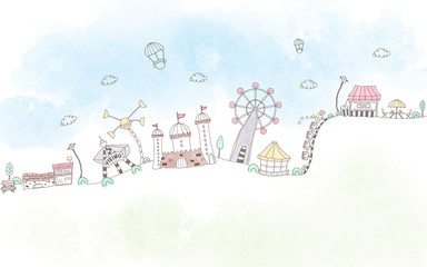 Illustration for the nursery, a white background, drawn amusement park with attractions, medieval castles and train