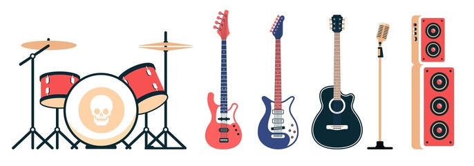 Rock band instruments set. Acoustic and electric guitars, drum set and speakers with a microphone. Vector illustration.