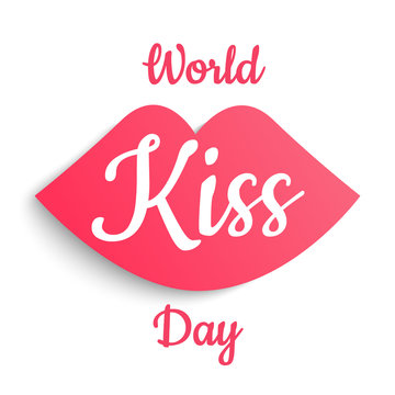 World kiss day vector with kiss iconon white background