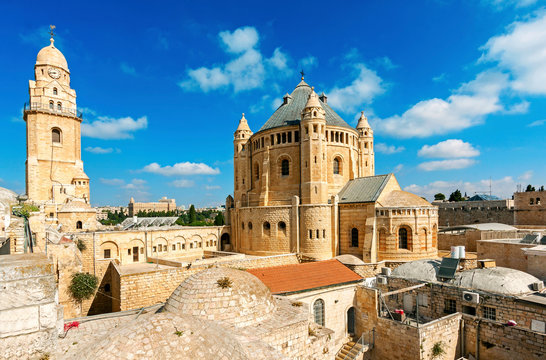 The roof top of the Upper room also called the Cenacle - this is where the room of the last supper is located in the building of the Tomb of David, Jerusalem Israel