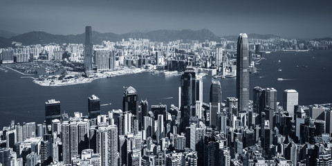 Panoramatic view on Hong Kong city skyline from the Victoria peak, China