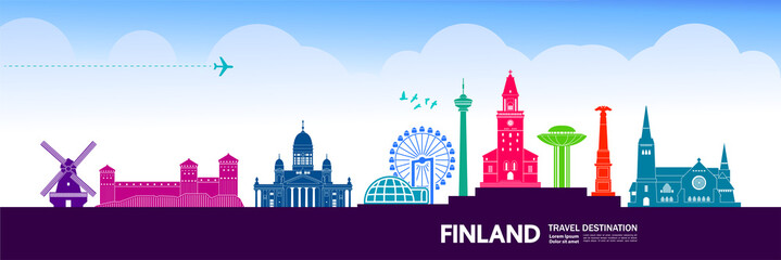 Fotomurales - Finland travel destination grand vector illustration.