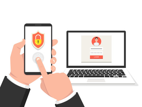 Two steps authentication concept. Verification by smartphone. Male avatar. Vector illustration.