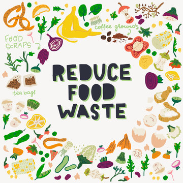 Reduce Food Waste inscription and food scraps