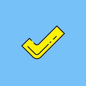 Yellow tick symbol line icon. Check mark select sign isolated on blue background. Vector illustration.