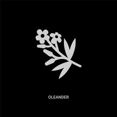 white oleander vector icon on black background. modern flat oleander from nature concept vector sign symbol can be use for web, mobile and logo.