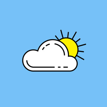 Sun cloud line icon. Simple partly cloudy weather symbol outline isolated on blue background. Vector illustration.