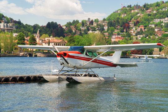 Floatplane or seaplane on Como lake.