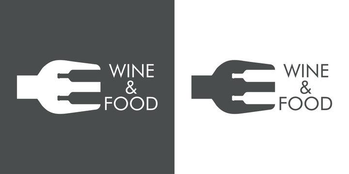 Logotipo abstracto con texto WINE & FOOD con tenedor y botellas en espacio negativo en gris y blanco