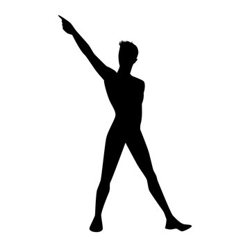 Black man silhouette with hand up on white background. A male street dance hip hop dancer. Vector isolated man for logo, sticker, logotype, icon, banner, poster. Illustration for dance studio.