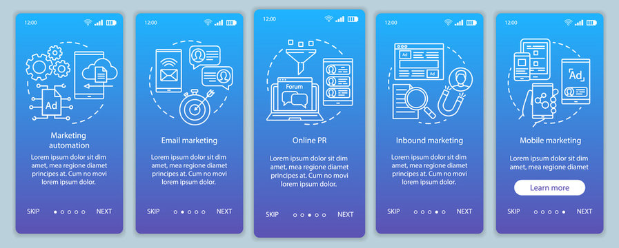 Digital marketing tactics blue onboarding mobile app page screen vector template. Advertising campaign walkthrough website steps with linear illustrations. UX, UI, GUI smartphone interface concept