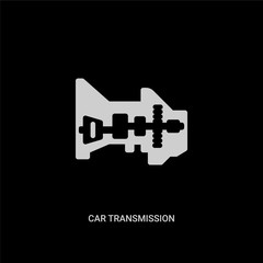white car transmission vector icon on black background. modern flat car transmission from car parts concept vector sign symbol can be use for web, mobile and logo.