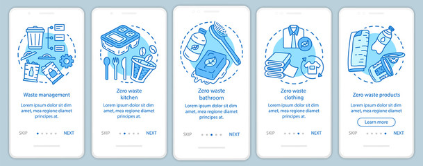 Zero waste lifestyle onboarding onboarding mobile app page screen vector template. Waste management walkthrough website steps with linear illustrations. UX, UI, GUI smartphone interface concept