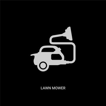 white lawn mower vector icon on black background. modern flat lawn mower from cleaning concept vector sign symbol can be use for web, mobile and logo.